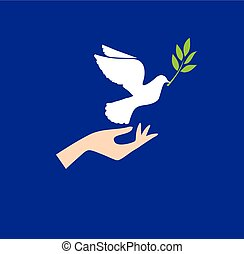 Dove Peace - vector hand with dove and olive branch