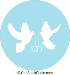 doves rings - vector doves with wedding rings