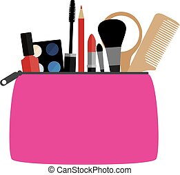 make up - vector cosmetic bag with make up
