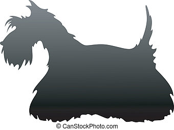 Scottish Terrier silhouette over white EPS 8, AI, JPEG
