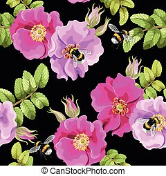 Seamless brier rose - Brier rose flowers and berries vector...