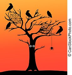 spooky tree - vector spooky tree with crows and spiders