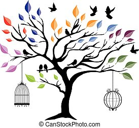 tree in the wind - vector tree with birds and cages