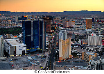 Las Vegas aerial view at sunset with mountain and luxury...