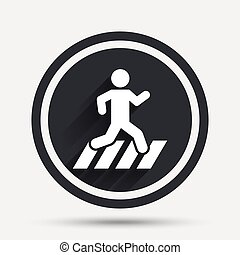 Crosswalk icon. Crossing street sign. Circle flat button...