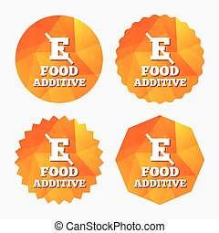 Food additive sign icon Without E symbol Healthy natural...