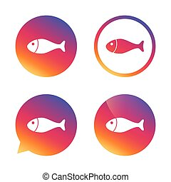 Fish sign icon. Fishing symbol. Gradient buttons with flat...
