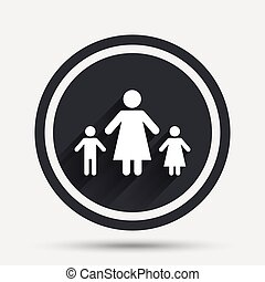 One-parent family with two children sign icon. Mother with...