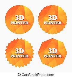 3D Print sign icon 3d Printing symbol Additive manufacturing...