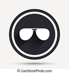 Aviator sunglasses sign icon. Pilot glasses. - Aviator...