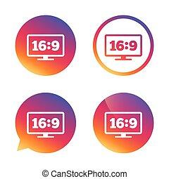 Aspect ratio 16:9 widescreen tv. Monitor symbol. - Aspect...