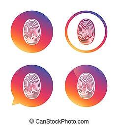 Fingerprint sign icon. Identification symbol. - Fingerprint...