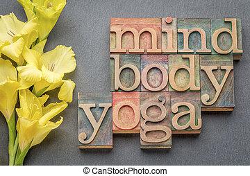 mente, cuerpo, yoga, palabra, Extracto