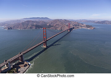 Aerial of the Golden Gate Bridge and Marin County