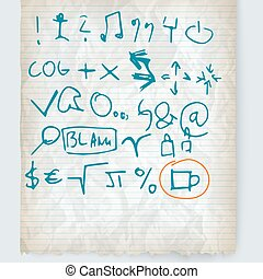 Vector crumpled lined paper and hand written icon