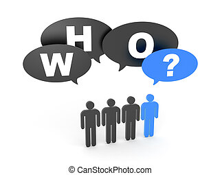 Who? - A group of people with blue man and chat bubbles