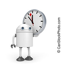 Robot with watch. 3d illustration