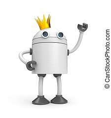 Robot with crown - king. 3d illustration
