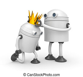 The coronation. Robot with crown - king. 3d illustration