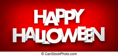 Happy halloween - red background. 3d illustration