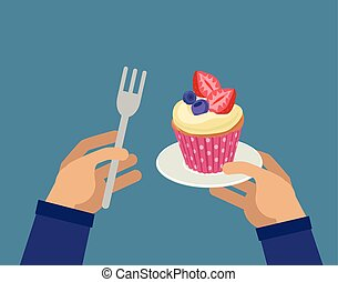 Hands with cupcake and fork - Hands holding berry cupcake...