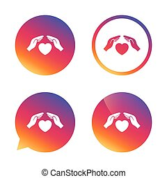 Life insurance sign icon. Hands protect cover. - Life...