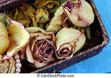 Dried roses and pearls