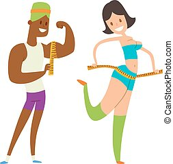 Beauty fitness people weight loss vector cartoon...
