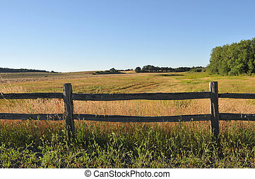 Old wooden fence in a rural field - An old wood fence with a...
