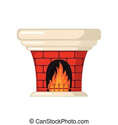 Brick fireplace icon in flat style. - Brick fireplace icon...
