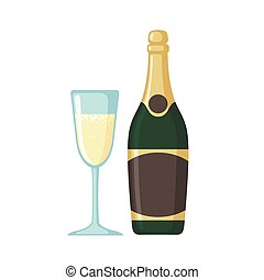 Champagne bottle with glass icon in flat style - Champagne...