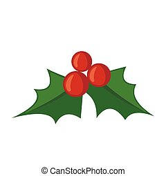 Christmas mistletoe icon in flat style. - Christmas...