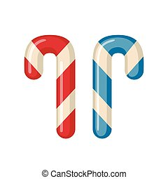 Candy cane icon in flat style. - Candy cane icon in flat...