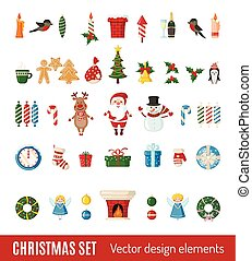 Big set of Christmas icons in flat style.