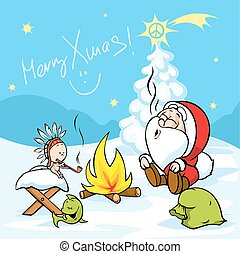 Merry Xmas - Santa with baby Jesus sitting by the fire and...