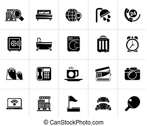 Hotel and motel services icons - Black Hotel and motel...