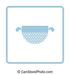 Kitchen colander icon. Blue frame design. Vector...
