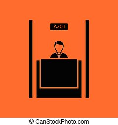 Bank clerk icon. Orange background with black. Vector...