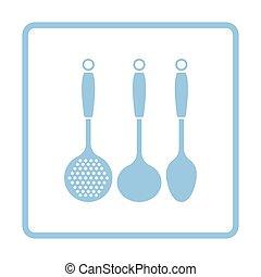 Ladle set icon. Blue frame design. Vector illustration.