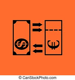 Currency exchange icon. Orange background with black. Vector...