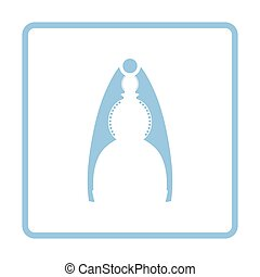 Nutcracker pliers icon. Blue frame design. Vector...
