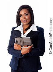 Smiling successful business woman standing with tablet