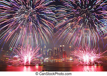 New York City fireworks show - New York City Manhattan July...
