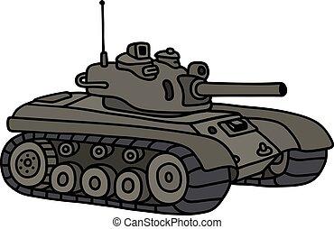 Funny khaki tank - Hand drawing of a funny khaki tank