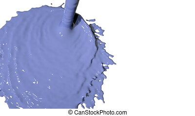 blue liquid flow falls from above and fills screen. Colored paint