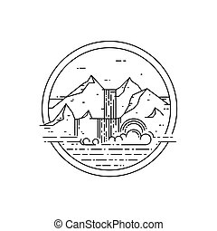 Vector line emblem with mountain landscape and waterfall.