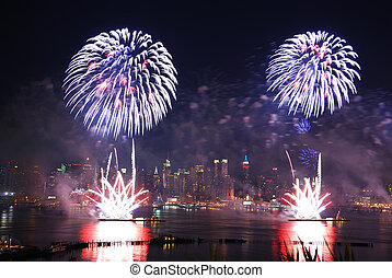 New York City fireworks - New York City Manhattan July 4th...