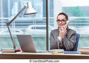 Call center operator in business concept