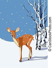 Fawn in winter - Spotted Fawn in snowy landscape...