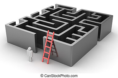 Man looking for the solution of the maze , This is a 3d...